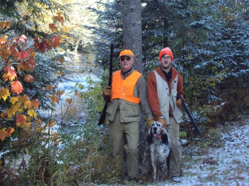 Mike, Jordan and Aspen Grouse hunting
