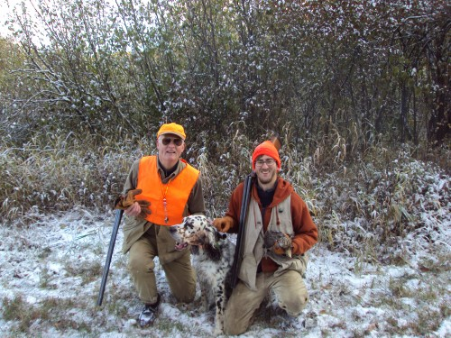 Mike and Jordan ...and Aspen with the first grouse of today's hunt