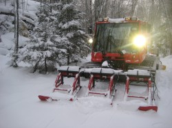 Grooming the new snow out at Hautanen